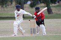 Prashant Chand-Bajpai of Buckhurst Hll survives a stumping attempt during Hornchurch CC vs Buckhurst Hill CC (batting), Essex Cricket League Cricket at Harrow Lodge Park on 25th July 2020