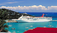 red roofs of Bluebeard's Castle Hotel with Carnival cruise ship at West Indian Co. dock. St Thomas, US Virgin Islands Caribbean.
