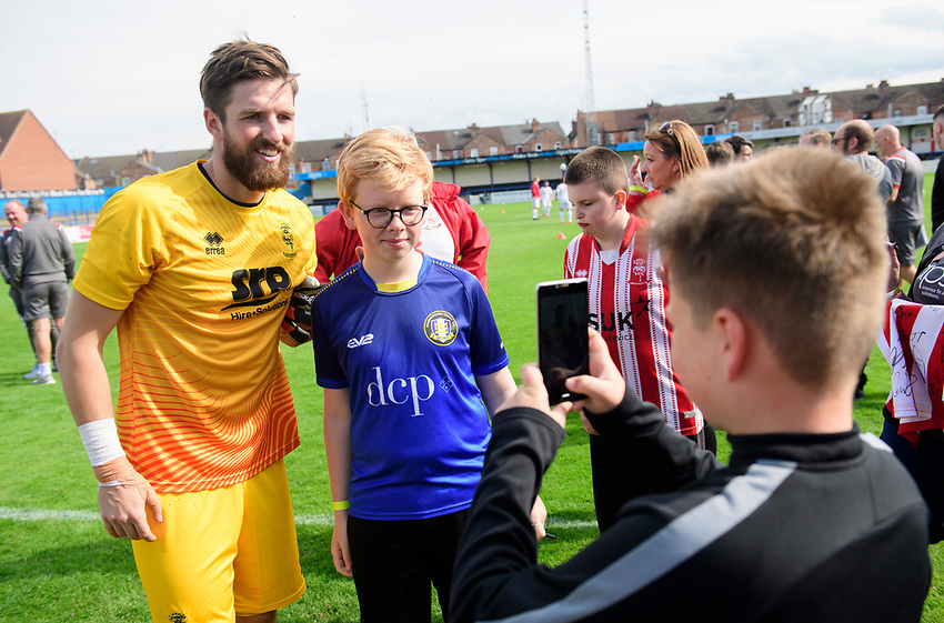 Lincoln City's Josh Vickers poses for a photographs with fans<br /> <br /> Photographer Chris Vaughan/CameraSport<br /> <br /> Football Pre-Season Friendly (Community Festival of Lincolnshire) - Gainsborough Trinity v Lincoln City - Saturday 6th July 2019 - The Martin & Co Arena - Gainsborough<br /> <br /> World Copyright © 2018 CameraSport. All rights reserved. 43 Linden Ave. Countesthorpe. Leicester. England. LE8 5PG - Tel: +44 (0) 116 277 4147 - admin@camerasport.com - www.camerasport.com