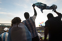 Santa Clara, CA - Monday June 6, 2016: Argentina fans celebrate their team's second goal. Argentina played Chile in the group D match of the Copa América Centenario game at Levi's Stadium.