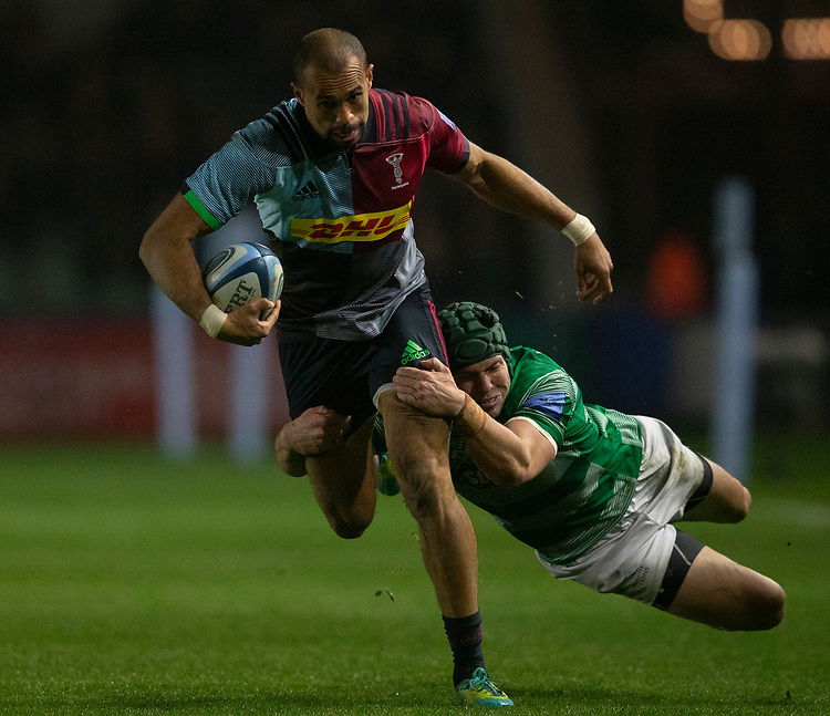 Harlequins' Aaron Morris is tackled by Newcastle Falcons' Pedro Bettencourt<br /> <br /> Photographer Bob Bradford/CameraSport<br /> <br /> Gallagher Premiership Round 7 - Harlequins v Newcastle Falcons - Friday 16th November 2018 - Twickenham Stoop - London<br /> <br /> World Copyright © 2018 CameraSport. All rights reserved. 43 Linden Ave. Countesthorpe. Leicester. England. LE8 5PG - Tel: +44 (0) 116 277 4147 - admin@camerasport.com - www.camerasport.com