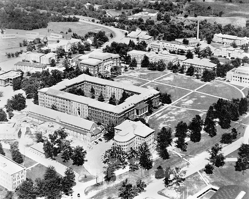 Aerial of the Drill Field in the 1930s. <br /> (&copy; Mississippi State University)