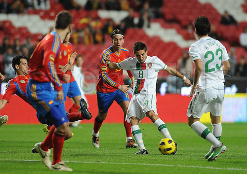 18.11.2010 Portugal gained a measure of revenge for their World Cup exit at the hands of Spain by inflicting a heavy defeat on their Iberian neighbours in tonight's friendly in Lisbon. Carl Martins Celebrates Goal for Portugal. Picture shows Joao Moutinho Portugal.