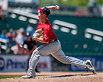 31 May 2018: Portland Sea Dogs pitcher Travis Lakins on the mound against the New Hampshire Fisher Cats at Northeast Delta Dental Stadium in Manchester, NH. The Sea Dogs rallied to defeat the Fisher Cats 12-9 in extra innings. Mandatory Credit: Ed Wolfstein Photo *** RAW (NEF) Image File Available ***