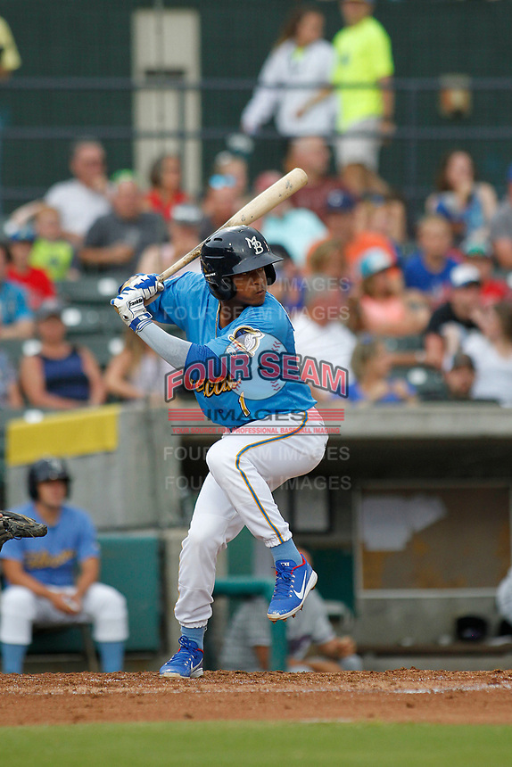 Myrtle Beach Pelicans infielder Yeiler Peguero (1) at bat during a game against the Winston-Salem Dash at Ticketreturn.com Field at Pelicans Ballpark on July 23, 2018 in Myrtle Beach, South Carolina. Winston-Salem defeated Myrtle Beach 6-1. (Robert Gurganus/Four Seam Images)