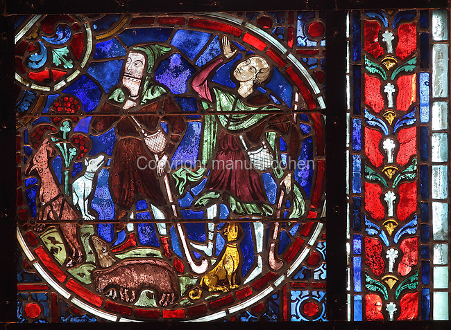 The shepherds, early 12th century, lancet stained glass window in the apse of Laon Cathedral or the Cathedrale Notre-Dame de Laon, built 12th and 13th centuries in Gothic style, in Laon, Aisne, Picardy, France. The cathedral is listed as a historic monument. Picture by Manuel Cohen