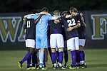 The High Point Panthers huddle up prior to the game against the Wake Forest Demon Deacons at W. Dennie Spry Soccer Stadium on October 9, 2018 in Winston-Salem, North Carolina. The Demon Deacons defeated the Panthers 4-2.  (Brian Westerholt/Sports On Film)