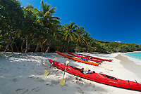 Kayaks on Honeymoon Beach.St. John, US Virgin Islands