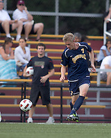 Quinnipiac University forward Nils von der Heide (7) passes the ball. Boston College defeated Quinnipiac, 5-0, at Newton Soccer Field, September 1, 2011.