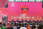 Bahrain-Merida team on stage at the Team Presentation before the 101st edition of the Giro d'Italia 2018. Jerusalem, Israel. 3rd May 2018.<br /> Picture: LaPresse/Fabio Ferrari | Cyclefile<br /> <br /> <br /> All photos usage must carry mandatory copyright credit (&copy; Cyclefile | LaPresse/Fabio Ferrari)