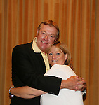 """OLTL's Jerry verDorn """"Clint Buchanan"""" poses with his fan club president Wendy Madore at the One Life To Live Fan Club Luncheon on August 16, 2008 at the New York Marriott Marquis, New York, New York.  (Photo by Sue Coflin/Max Photos)"""