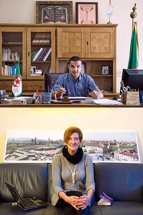AUTOREVOLI PERSONE. <br /> Ismail Deghoul, sindaco<br /> Ilda Curti, assessore<br /> <br /> Sorrido ma sono serio.<br /> Guardo avanti,<br /> impugno la penna<br /> e il futuro<br /> con determinazione.<br /> <br /> Sorrido ma sono seria.<br /> Ho la città alle spalle<br /> e tra le dita,<br /> nei grigi sparsi,<br /> le parole<br /> di una canzone<br /> titolano il libro<br /> sul divano<br /> e dentro me.
