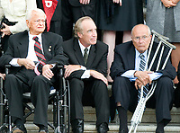 "Washington, DC - August 29, 2009 -- United States Senator Robert Byrd (Democrat of West Virginia), former U.S. Senator Dirk Kempthorne (Republican of Idaho), and U.S. Representative John Dingell await the arrival of the body of former U.S. Senator Edward M. ""Ted"" Kennedy (Democrat of Massachusetts) at the U.S. Capitol on Saturday, August 29, 2009. Photo Credit: Ron Sachs/CNP/AdMedia"