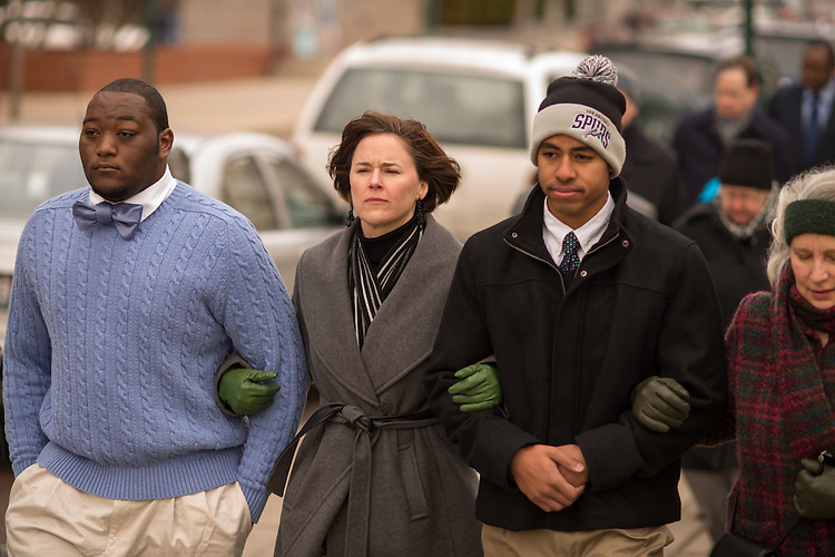 Jenny Hall- Jones (Center) participates in the MLK Jr. Silent March with students.