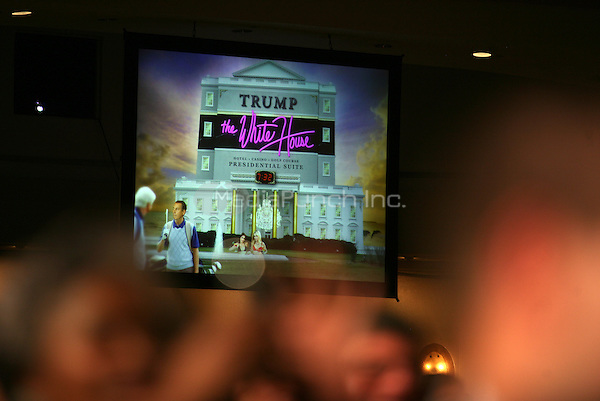 "A projected image is shown on a large screen during United States President Barack Obama's speach at the annual White House Correspondent's Association Gala at the Washington Hilton Hotel, Washington, DC, Saturday, April 30, 2011. The President used the image to show what a ""Trump"" White House might look like..Credit: Martin Simon / Pool via CNP/MediaPunch"