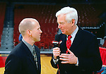 University of Wisconsin acting head coach Brad Soderberg after the University of Iowa game at the Kohl Center on 1/16/01 in Madison, Wisc., with ESPN announcer Bill Raftery.  The Badgers beat Iowa 67-54. (Photo by David Stluka)