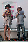 Inauguration of the gay pride festivities held MADO2012 in the Madrid district of Chueca.The singer La Terremoto de Alcorcon (l) and the actor Fernando Tejero read the inauguration speech at the assembled audience..(Alterphotos/Ricky)