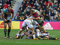 Dan Fish at the bottom of the maul, Harlequins v Cardiff Blues in a European Challenge Cup match at Twickenham Stoop, Twickenham, London, England, on 17th January 2016