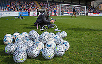 Footballs on display as the crew set up during The Impractical Jokers (Hit US TV Comedy) filming at Wycombe Wanderers FC at Adams Park, High Wycombe, England on 5 April 2016. Photo by Andy Rowland.