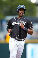 Eloy Jimenez (16) of the Charlotte Knights during the game against the Pawtucket Red Sox at BB&T BallPark on July 19, 2018 in Charlotte, North Carolina. The Knights defeated the Red Sox 4-3.  (Brian Westerholt/Four Seam Images)