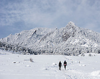 Chataqua Park and the Flatiron Mountains in Boulder, Colorado in April, 2013. <br /> <br /> Photo by Matt Nager