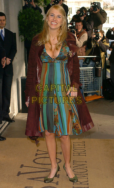 NANCY SORRELL .The South Bank Show Awards,.London, England, 27th January 2006..full length turquoise blue striped dress floaty green round toe shoes brown coat smiling .Ref: CAN.www.capitalpictures.com.sales@capitalpictures.com.©Capital Pictures