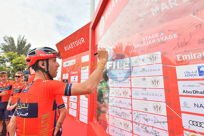 Vincenzo Nibali (ITA) Bahrain-Merida signs on before the start of Stage 5 of the 2019 UAE Tour, running 181km form Sharjah to Khor Fakkan, Dubai, United Arab Emirates. 28th February 2019.<br /> Picture: LaPresse/Massimo Paolone | Cyclefile<br /> <br /> <br /> All photos usage must carry mandatory copyright credit (© Cyclefile | LaPresse/Massimo Paolone)
