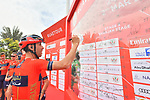 Vincenzo Nibali (ITA) Bahrain-Merida signs on before the start of Stage 5 of the 2019 UAE Tour, running 181km form Sharjah to Khor Fakkan, Dubai, United Arab Emirates. 28th February 2019.<br /> Picture: LaPresse/Massimo Paolone | Cyclefile<br /> <br /> <br /> All photos usage must carry mandatory copyright credit (&copy; Cyclefile | LaPresse/Massimo Paolone)