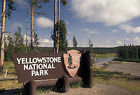 Yellowstone National Park, WY, Wyoming, South Entrance sign to Yellowstone Nat'l Park in Wyoming.