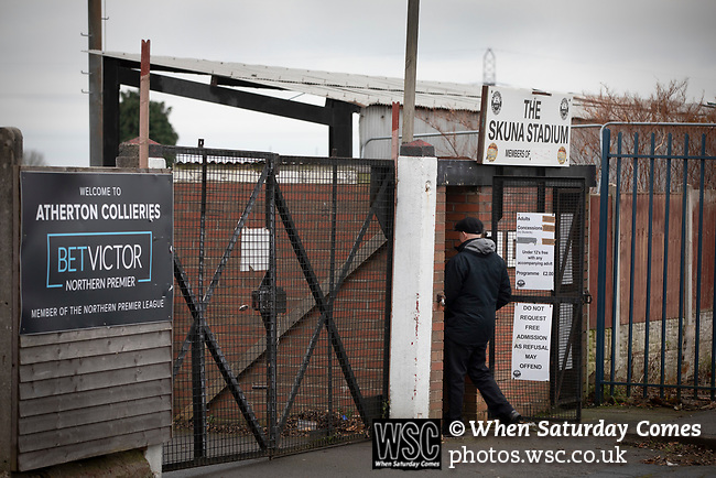 Atherton Collieries 1, Boston United 0, 23/11/19. Alder House, FA Trophy, third qualifying round. A spectator paying in at the turnstiles before Atherton Collieries played Boston United in the FA Trophy third qualifying round at the Skuna Stadium. The home club were formed in 1916 and having secured three promotions in five season played in the Northern Premier League premier division. This was the furthest they had progressed in the FA Trophy and defeated their rivals from the National League North by 1-0, Mike Brewster scoring a late winner watched by a crowd of 303 spectators. Photo by Colin McPherson.