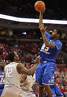 Central Connecticut State Blue Devils guard Matt Hunter (25) leaps for a basket in the second half of the college basketball game between the Ohio State Buckeyes and the Central Connecticut State Blue Devils at Value City Arena in Columbus, Saturday afternoon, December 7, 2013. The Ohio State Buckeyes defeated the Central Connecticut State Blue Devils 74 - 56. (The Columbus Dispatch / Eamon Queeney)