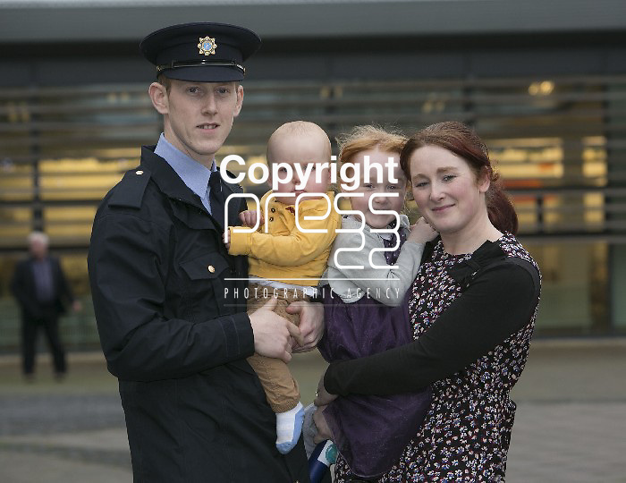 Garda Reserve Daniel Bagnall, Trim Co.Meath pictured with Dylan, Megan Bagnall & Leann Connelly after graduation in Templemore Garda College  Picture Credit Brian Gavin Press 22