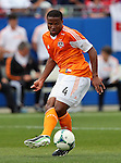 Houston Dynamo defender Jermaine Taylor (4) in action during the game between the FC Dallas and the Houston Dynamo at the FC Dallas Stadium in Frisco,Texas.