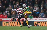 Preston North End's Lukas Nmecha and Brentford's Moses Odubajo<br /> <br /> Photographer Rob Newell/CameraSport<br /> <br /> The EFL Sky Bet Championship - Brentford v Preston North End - Sunday 5th May 2019 - Griffin Park - Brentford<br /> <br /> World Copyright © 2019 CameraSport. All rights reserved. 43 Linden Ave. Countesthorpe. Leicester. England. LE8 5PG - Tel: +44 (0) 116 277 4147 - admin@camerasport.com - www.camerasport.com