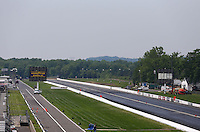 May 30, 2013; Englishtown, NJ, USA: NHRA overall view down the track from the grandstands at Raceway Park. Mandatory Credit: Mark J. Rebilas-