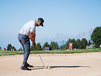 Erik Van Rooyen (RSA) from the bunker on the 17th hole during second round at the Omega European Masters, Golf Club Crans-sur-Sierre, Crans-Montana, Valais, Switzerland. 30/08/19.<br /> Picture Stefano DiMaria / Golffile.ie<br /> <br /> All photo usage must carry mandatory copyright credit (© Golffile | Stefano DiMaria)