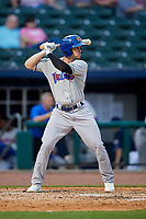 Midland RockHounds third baseman Jordan Tarsovich (5) at bat during a game against the Northwest Arkansas Naturals on May 27, 2017 at Arvest Ballpark in Springdale, Arkansas.  NW Arkansas defeated Midland 3-2.  (Mike Janes/Four Seam Images)