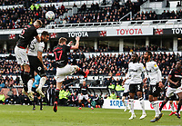 Bolton Wanderers' Mark Beevers heads at goal<br /> <br /> Photographer Andrew Kearns/CameraSport<br /> <br /> The EFL Sky Bet Championship - Derby County v Bolton Wanderers - Saturday 13th April 2019 - Pride Park - Derby<br /> <br /> World Copyright &copy; 2019 CameraSport. All rights reserved. 43 Linden Ave. Countesthorpe. Leicester. England. LE8 5PG - Tel: +44 (0) 116 277 4147 - admin@camerasport.com - www.camerasport.com