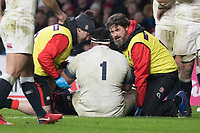 Twickenham, Surrey. UK.  [Right] Team Doctor, attends to Mako VUNIPOLA, during the Six Nations Rugby Match, England vs Wales RFU Stadium, Twickenham. Surrey, England. on Saturday 10.02.18<br /> <br /> <br /> [Mandatory Credit Peter SPURRIER/Intersport Images]
