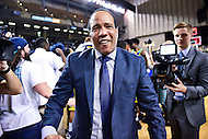 MAR 7, 2016: Baltimore, MD - North Carolina-Wilmington Seahawks head coach Kevin Keatts celebrates after winning the CAA Tournament with a win over Hofstra Pride 80-73 at the Royal Farms Arena in Baltimore, Maryland. (Photo by Philip Peters/Media Images International)