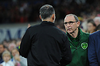 Ryan Giggs manager of Wales greets Martin O'Neill manager of Republic of Ireland during the UEFA Nations League B match between Wales and Ireland at Cardiff City Stadium in Cardiff, Wales, UK.September 6, 2018