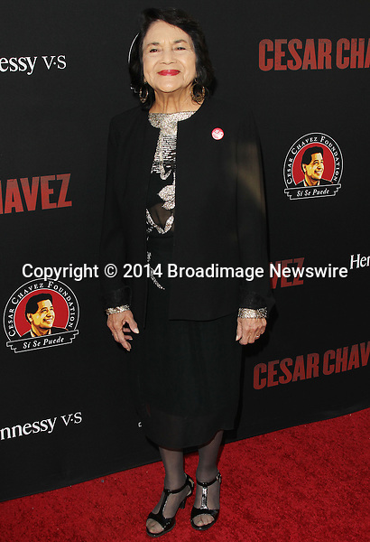 Pictured: Dolores Huerta<br /> Mandatory Credit &copy; Frederick Taylor/Broadimage<br /> Premiere Of Pantelion Films And Participant Media's &quot;Cesar Chavez&quot; - Arrivals<br /> <br /> 3/20/14, Hollywood, California, United States of America<br /> <br /> Broadimage Newswire<br /> Los Angeles 1+  (310) 301-1027<br /> New York      1+  (646) 827-9134<br /> sales@broadimage.com<br /> http://www.broadimage.com