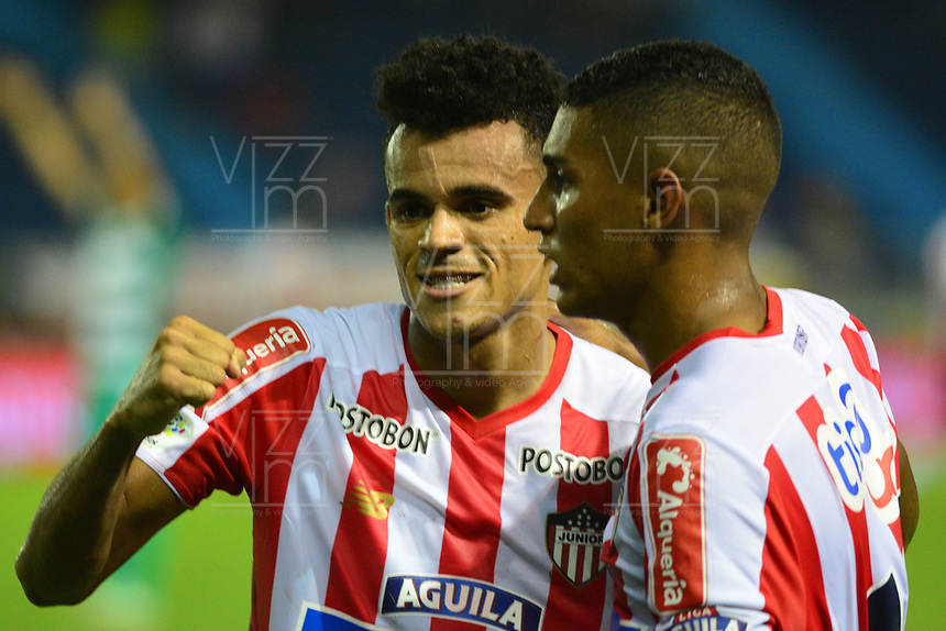 BARRANQUILLA- COLOMBIA, 15-11-2018: Luis Diaz jugador del Atlético Junior celebra su gol contra Equidad durante partido por los cuartos de final ida  de la Liga Águila II 2018 jugado en el estadio Metropolitano Roberto Meléndez de la ciudad de Barranquilla. / Luis Diaz player of Atletico Junior celebrates his goal agaisnt Equidad during Quarter Final first leg match Liga Aguila II 2018 played at the Metropoltano Roberto Melendez Stadium in Barranquilla  city. Photo: VizzorImage / Alfonso Cervantes / Contribuidor