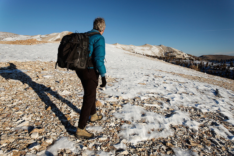 Male hiker in White Mountains, Inyo National Forest, White Mountains, California, USA