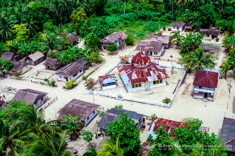 Maluku, Central Maluku, Banda Sea. The mosque has a central place in this village on an island in the Banda Sea (from helicopter).
