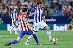 Deportivo Alaves's Ibai Gomez Atletico de Madrid's Diego Godin during the match of La Liga Santander between Atletico de Madrid and Deportivo Alaves at Vicente Calderon Stadium. August 21, 2016. (ALTERPHOTOS/Rodrigo Jimenez)