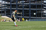 17 June 2007: New England's Brad Knighton takes a goal kick with Gillette Stadium serving as a backdrop. The New England Revolution Reserves defeated the Columbus Crew Reserves 2-1 on the Gillette Stadium practice field in Foxboro, Massachusetts in a Major League Soccer Reserve Division game.