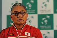 Minora Ueda, Japan Coach, MARCH 05, 2016 - Tennis : Minora Ueda, Japan Coach speaks to the media after the Davis Cup by PNB Paribas , World Group first round doubles match between Great Britain and Japan at The Barclaycard Arena, Birmingham, United Kingdom. (Photo by Rob Munro/AFLO)