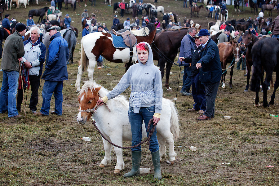4/10/2010. Roseanna Buckley 14 from Offaly is pictured with her pony Lucy at the Ballinasloe Horse Fair, Ballinasloe, Ireland. Picture James Horan