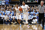 24 January 2015: North Carolina's Nate Britt (0). The University of North Carolina Tar Heels played the Florida State University Seminoles in an NCAA Division I Men's basketball game at the Dean E. Smith Center in Chapel Hill, North Carolina. UNC won the game 78-74.
